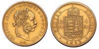 Ferenc József 4 Forint 1890 KB Fiume RR!