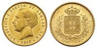 Portugália- I.Lajos 1861-1889 5000 reis 1862