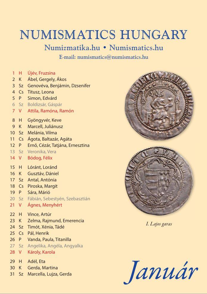 Numizmatikai naptár 2018. évre