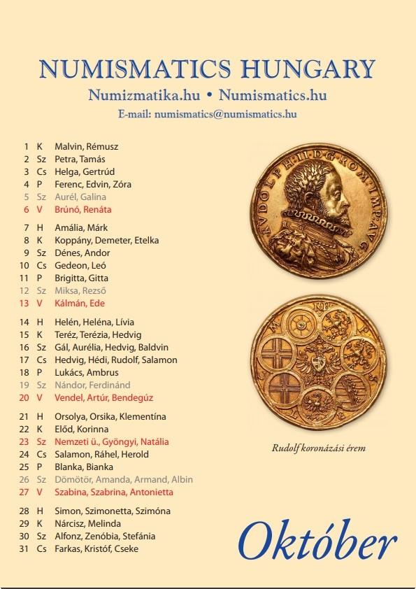 Numizmatikai naptár 2019. évre